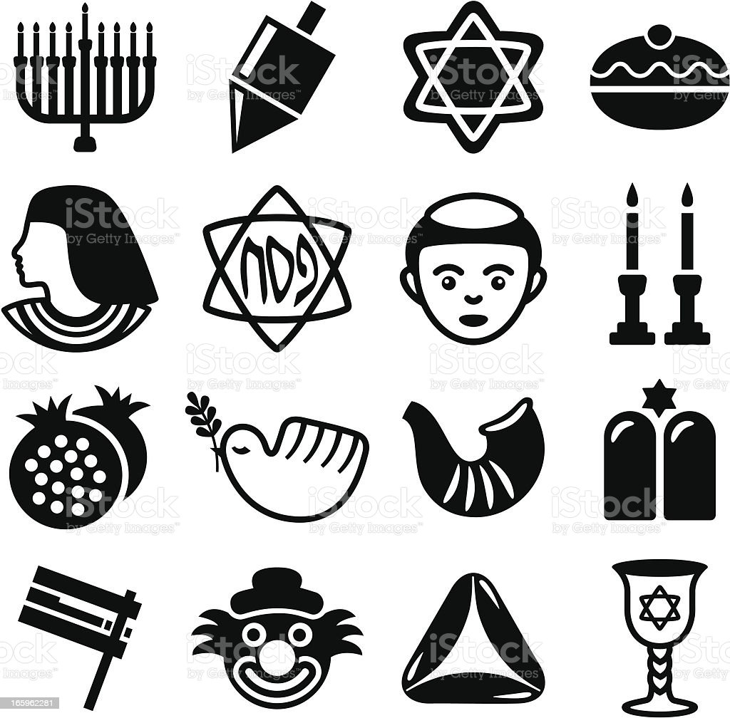 Jewish Holidays Combo - Icons Set royalty-free stock vector art