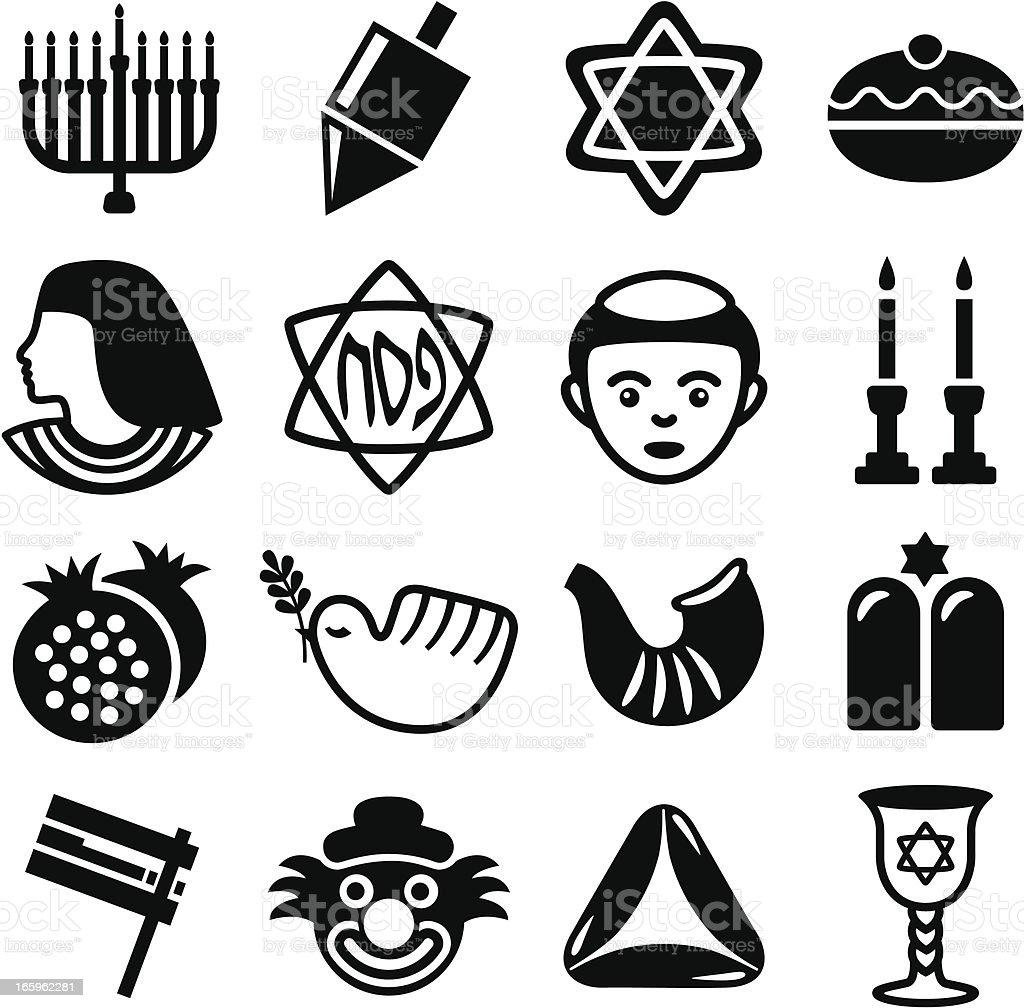 Jewish Holidays Combo - Icons Set vector art illustration