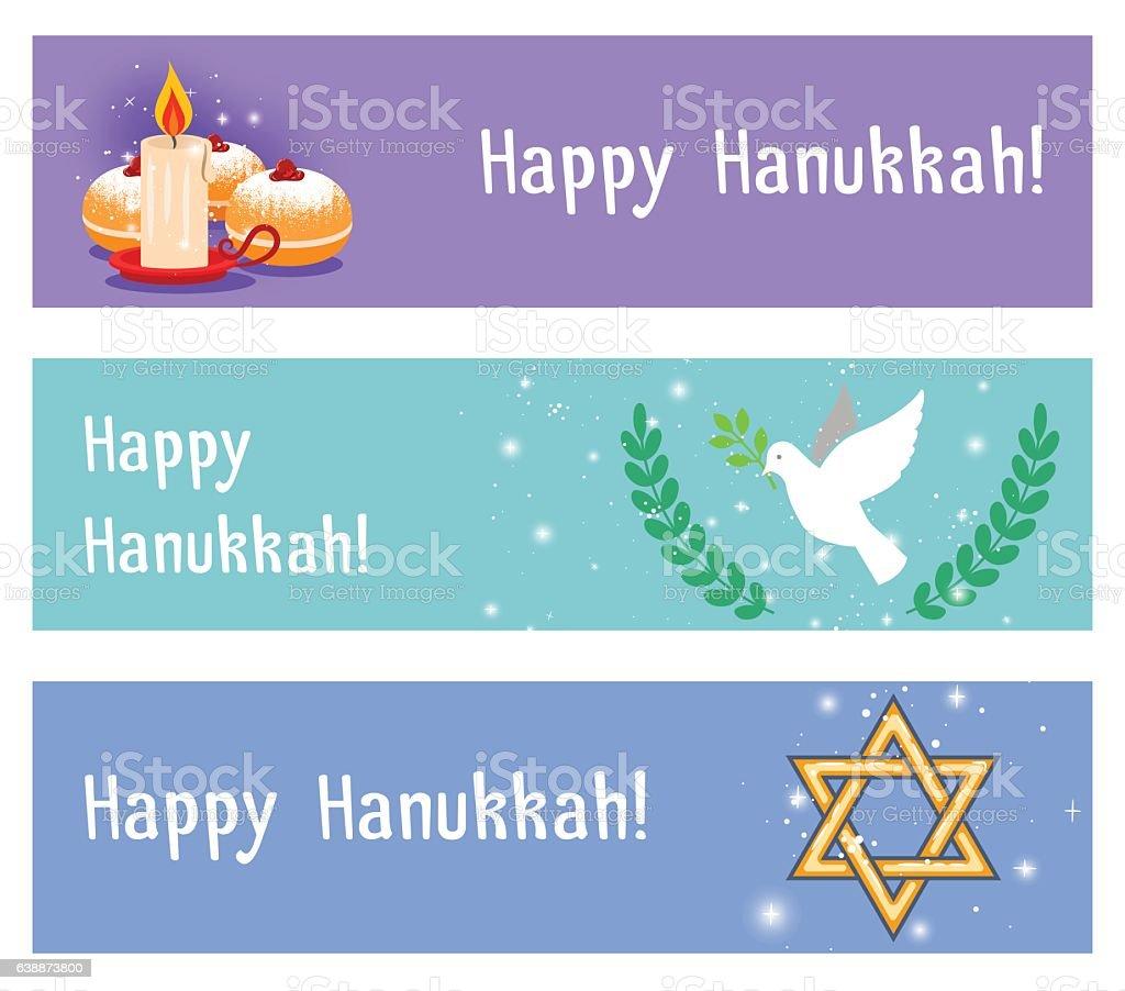 Jewish holidays hanukkah horizontal flyers or headers. Vector...