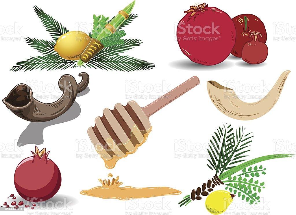 Jewish Holidays Symbols Pack vector art illustration