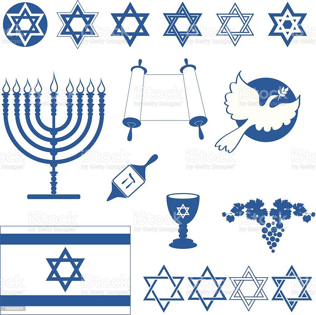 Jewish icons vector art illustration