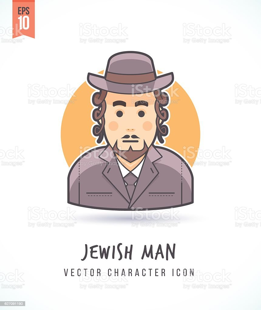 Jewish man with sideburns illustration vector art illustration