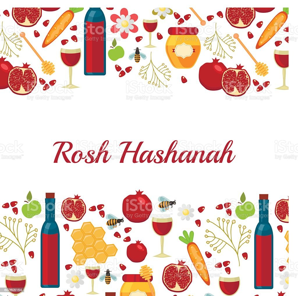 Jewish new year holiday elements for Rosh Hashanah vector vector art illustration