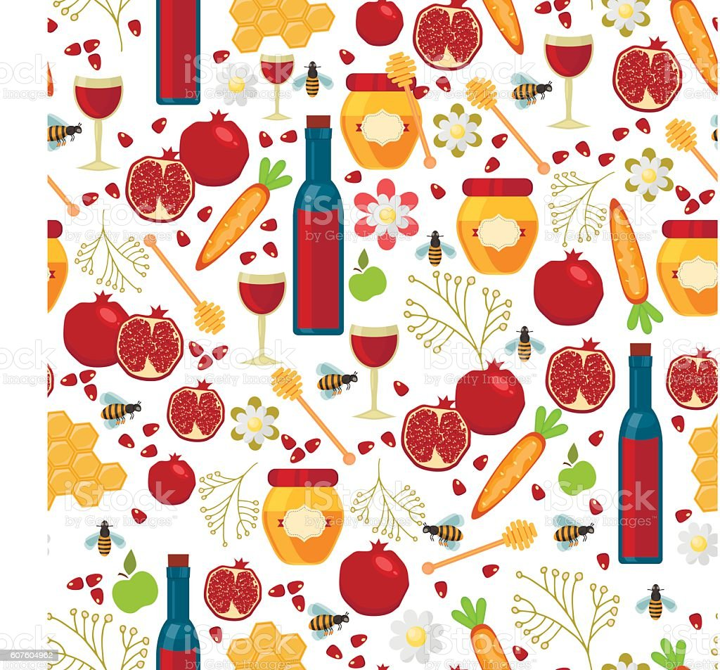 Jewish new year holiday seamless pattern for Rosh Hashanah vector vector art illustration