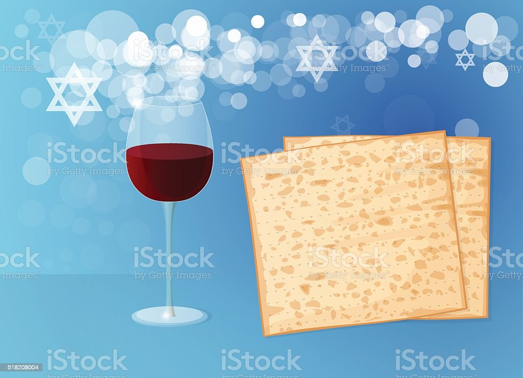 Jewish passover holiday. Matzoh and Wine on a Blue Background. vector art illustration