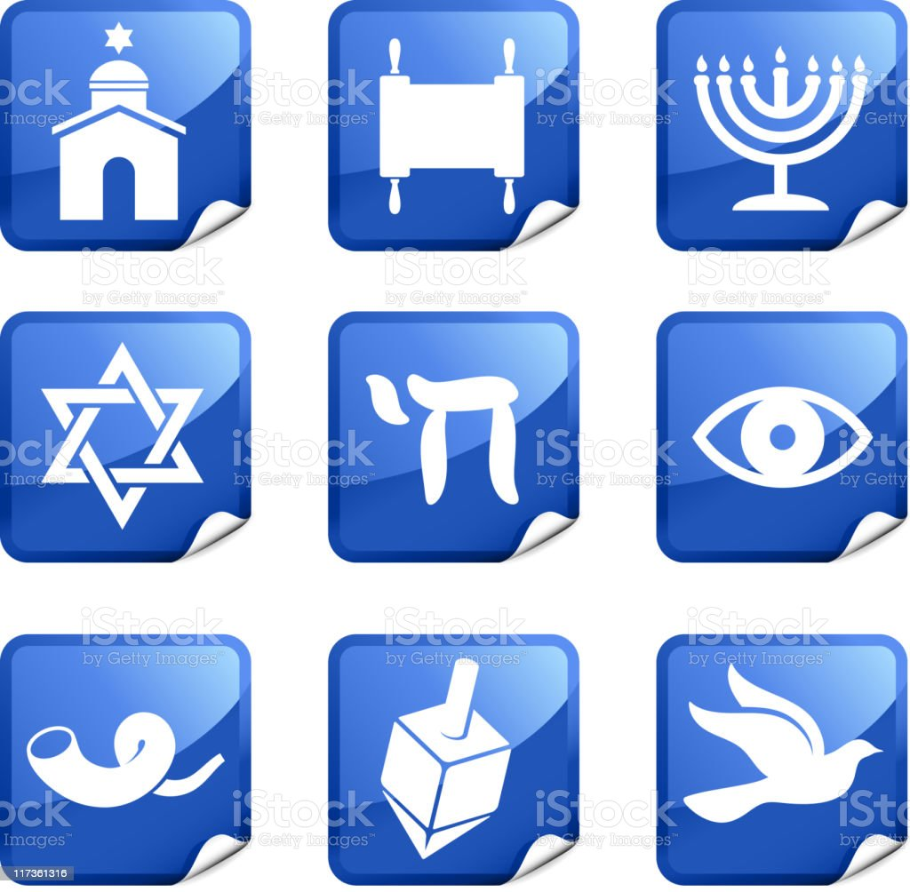 Jewish religion nine royalty free vector icon set royalty-free stock vector art