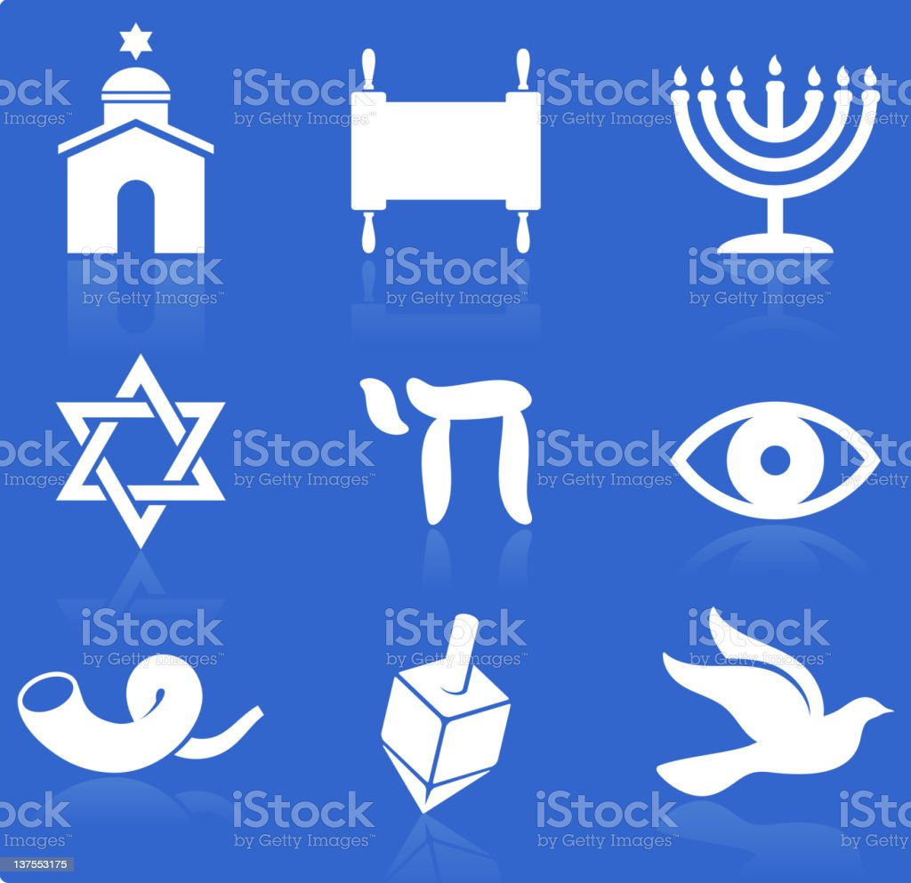 Jewish religious items knockout white royalty free vector icon set royalty-free stock vector art