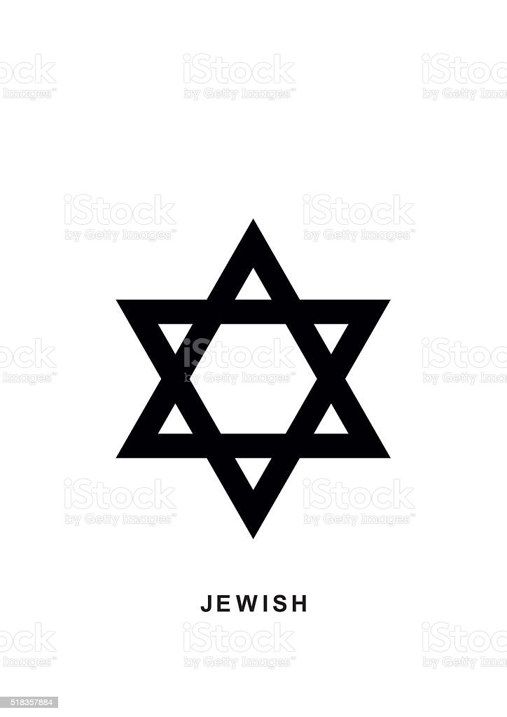 Jewish Star of David icon in flat isolated on white. vector art illustration