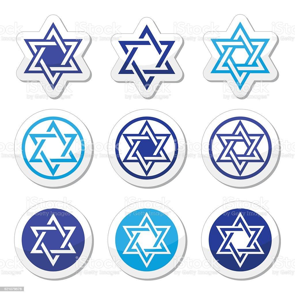Jewish, Star of David icons set isolated on white vector art illustration