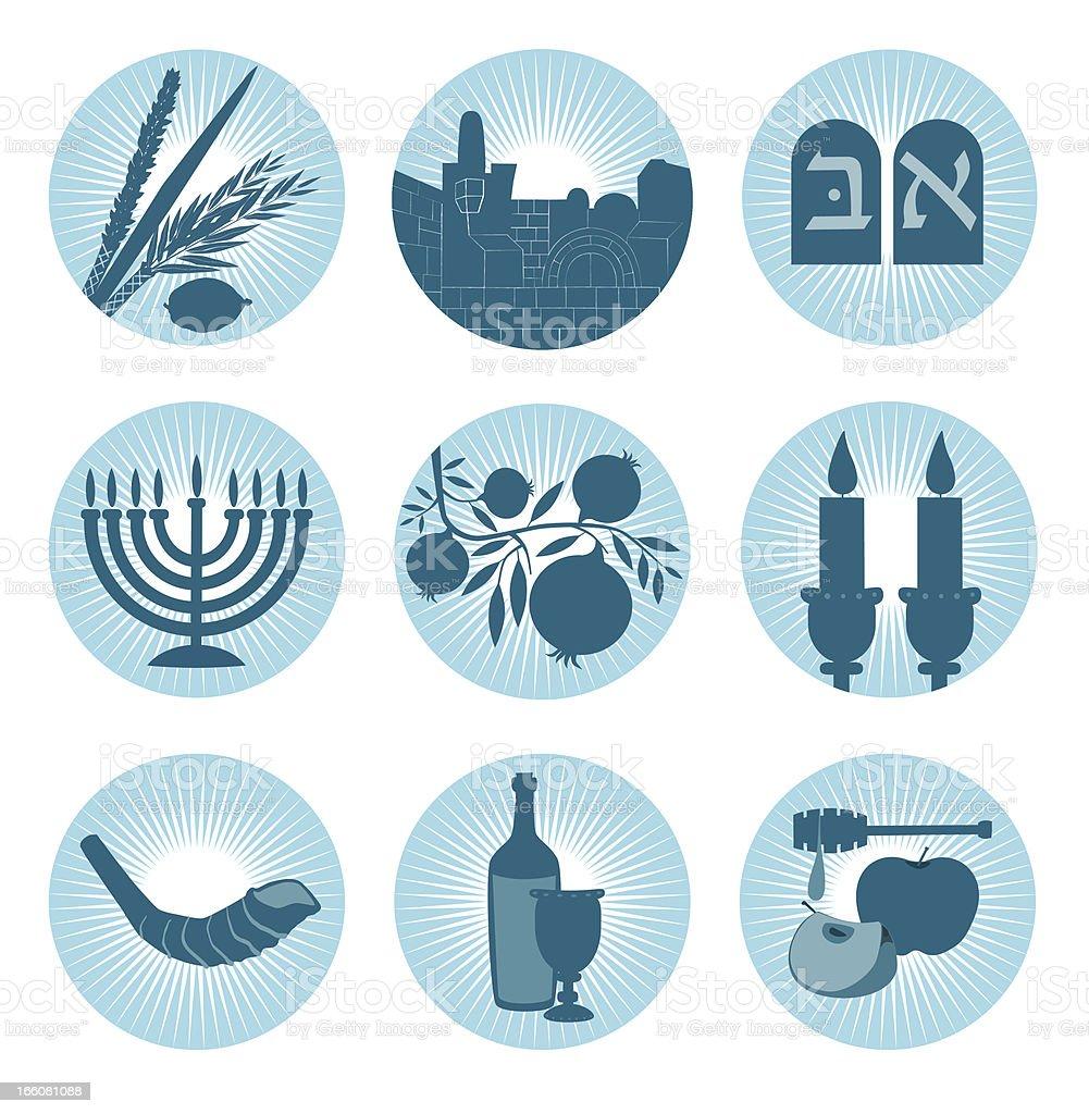 Jewish Symbol Icons vector art illustration