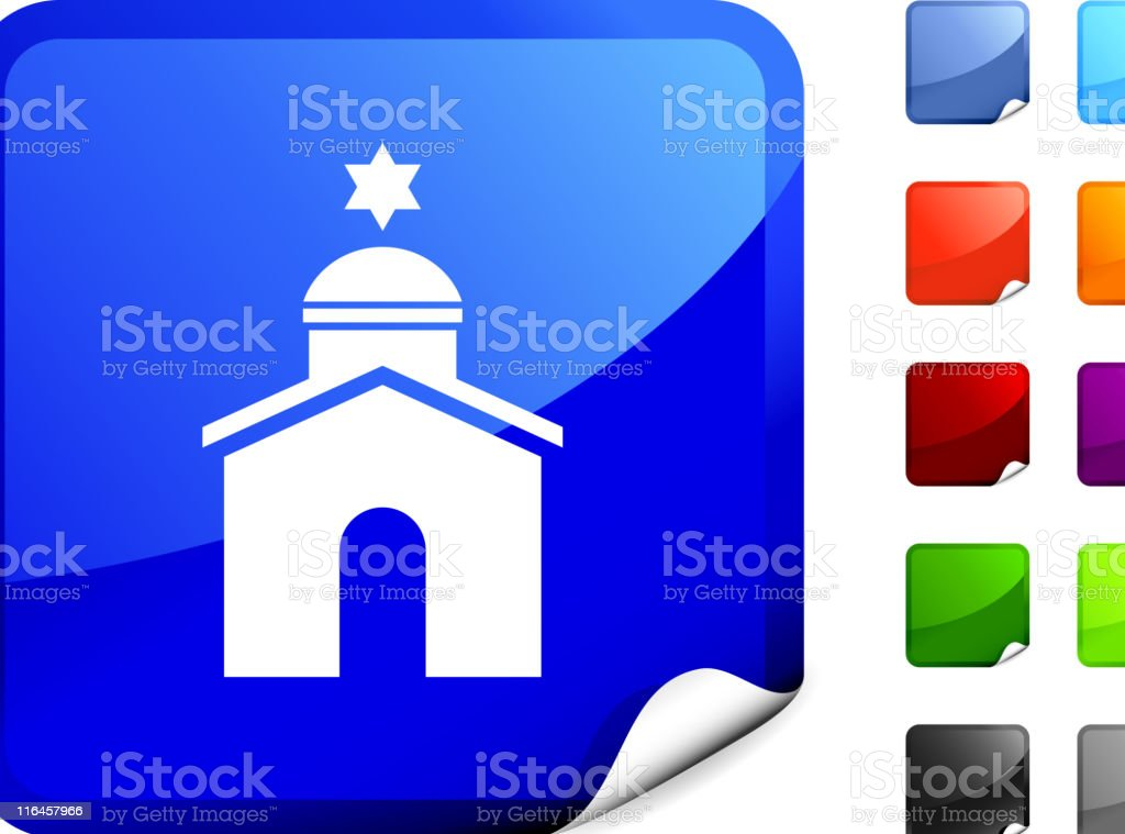 Jewish synagogue temple royalty free vector art on Blue Sticker royalty-free stock vector art