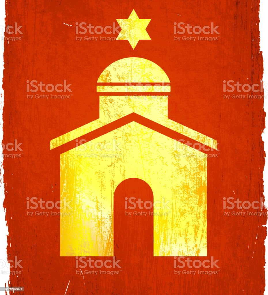 Jewish temple on royalty free vector Background vector art illustration