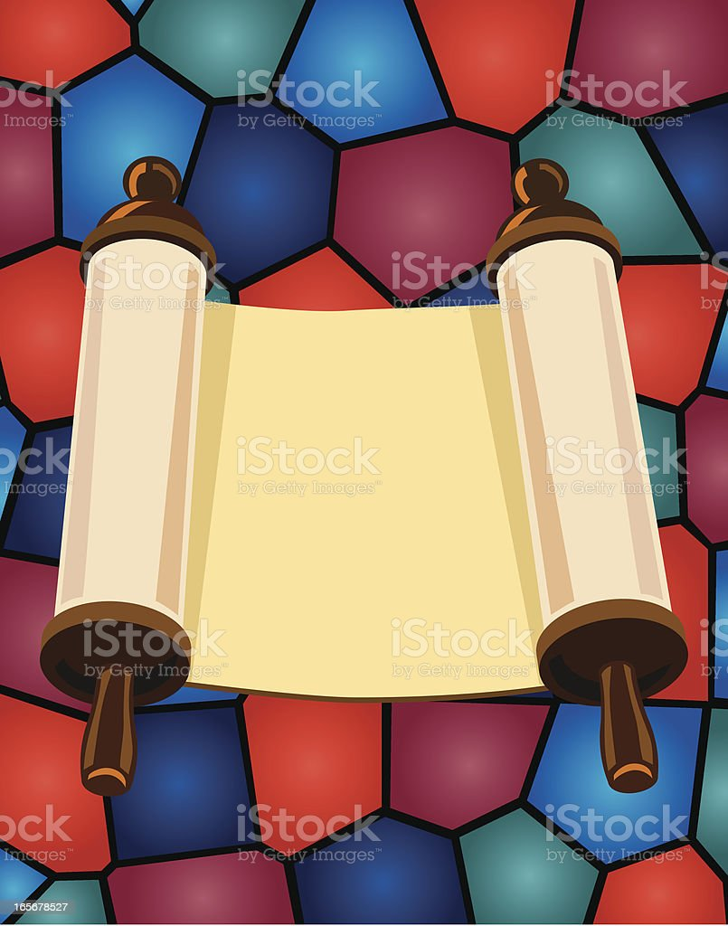 Jewish Torah and Stained Glass royalty-free stock vector art