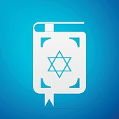 Jewish torah book flat icon on blue background. Vector Illustration