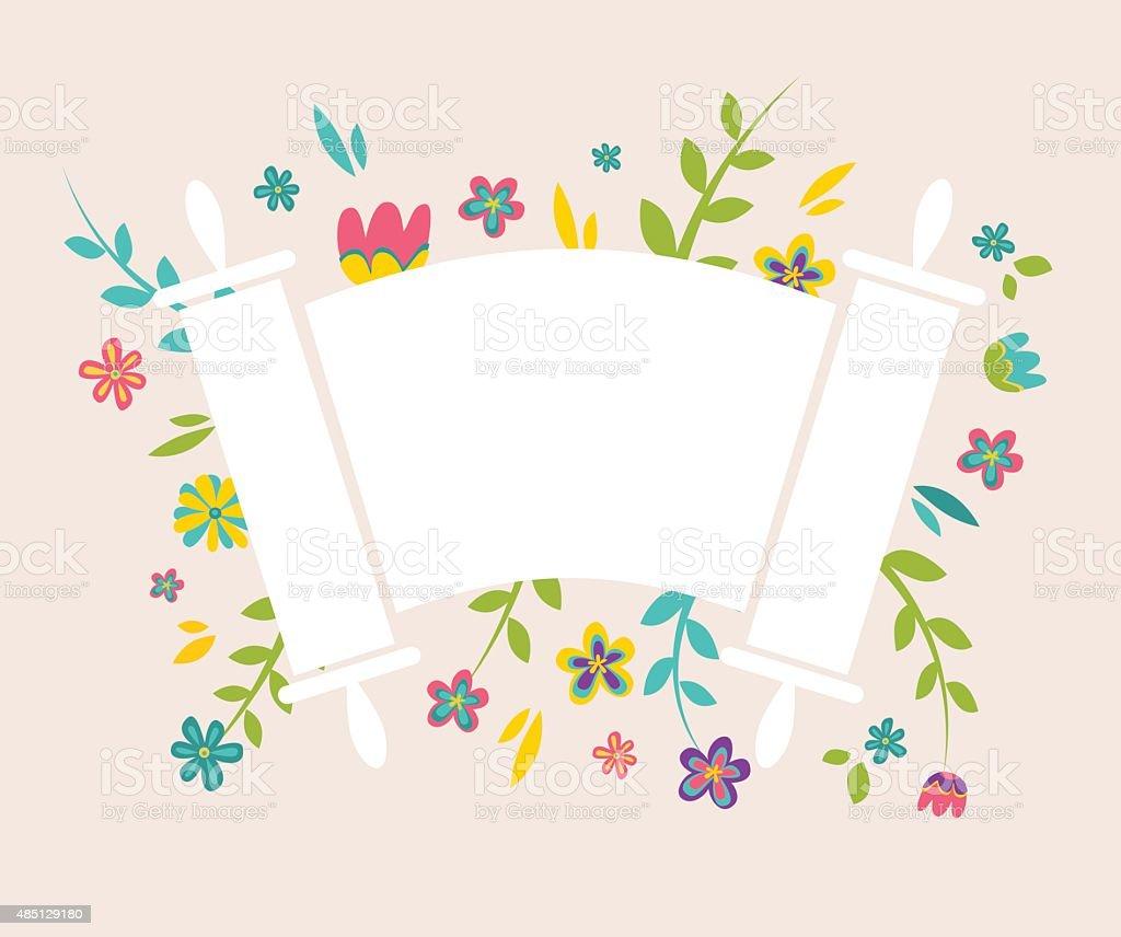 Jewish Torah surrounding with fresh vintage flowers vector art illustration