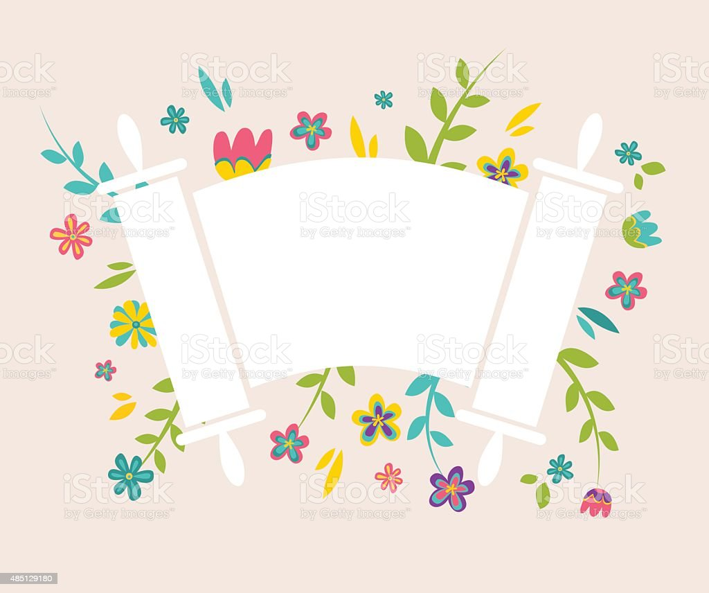 Jewish Torah surrounding with fresh vintage flowers vector art illustration