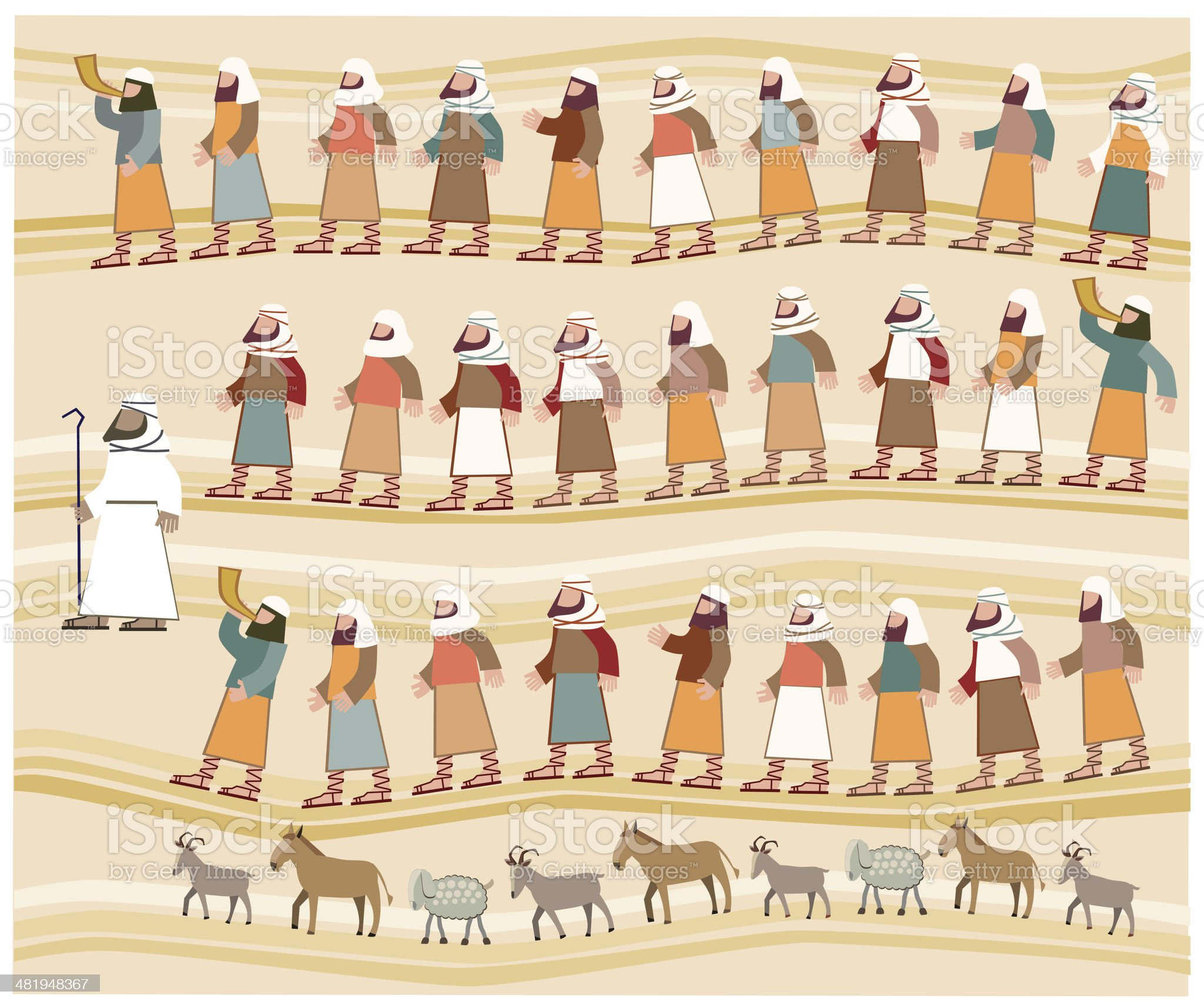Jews Walking in the Desert, Passover Illustration royalty-free stock vector art