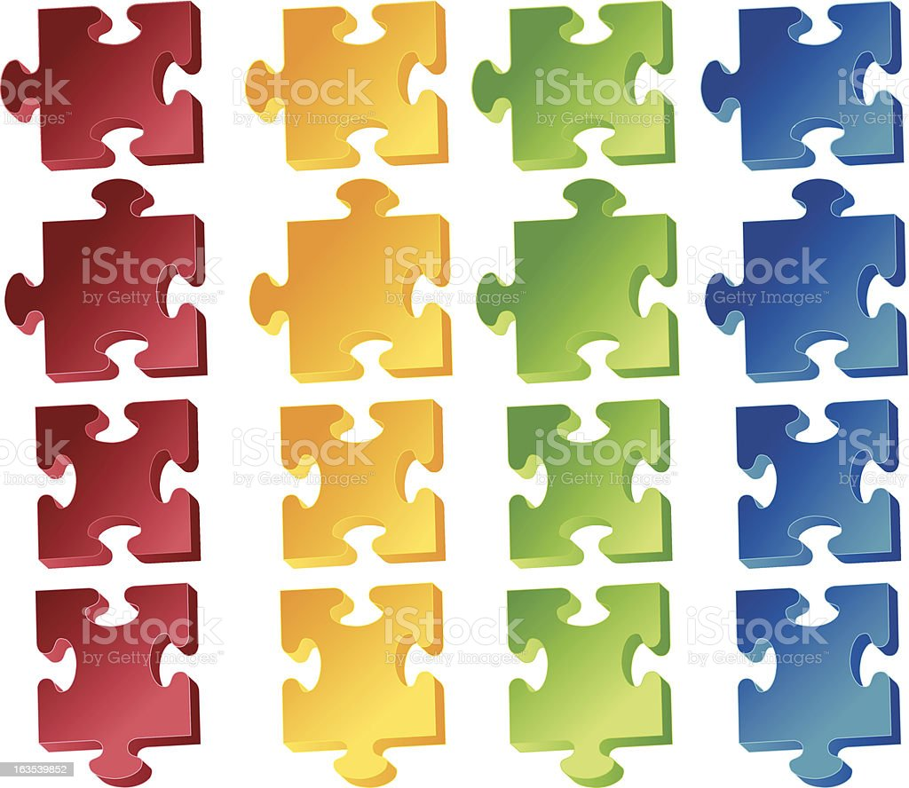 Jigaw, puzzle pieces royalty-free stock vector art