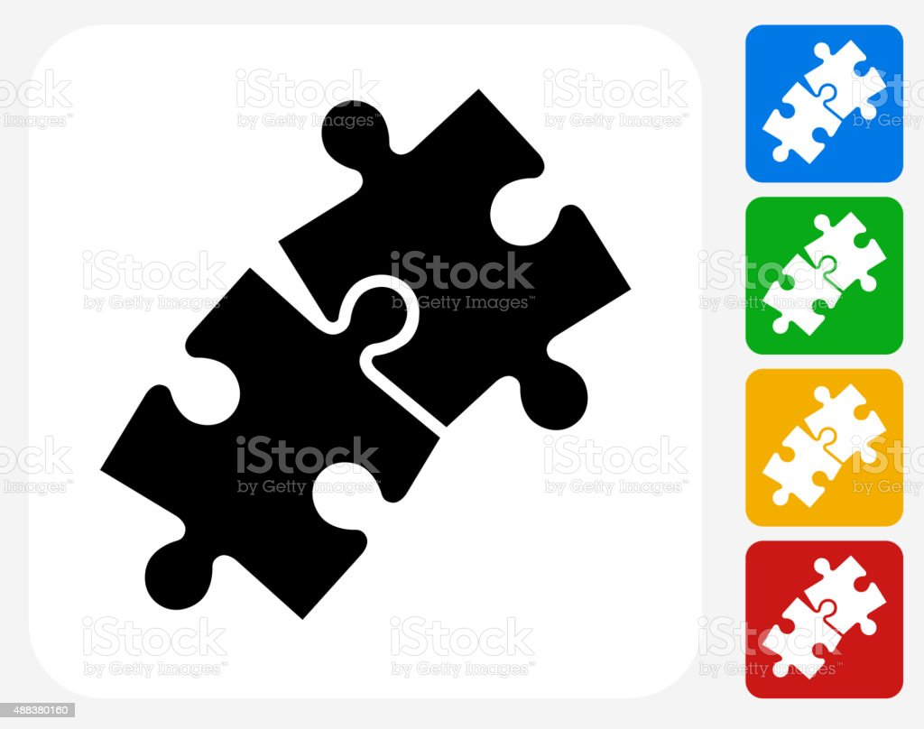 Jigsaw Icon Flat Graphic Design vector art illustration