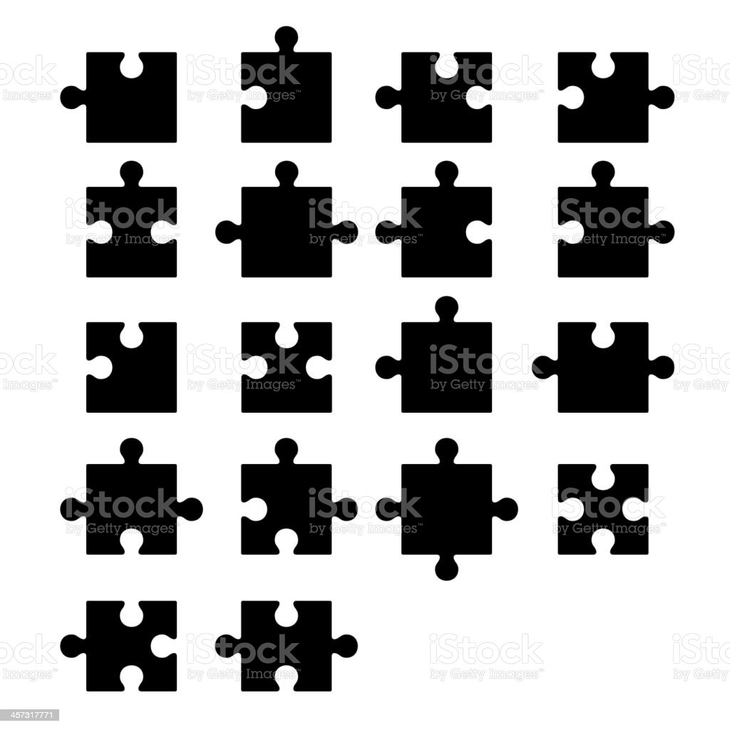 Jigsaw puzzle blank parts constructor vector art illustration