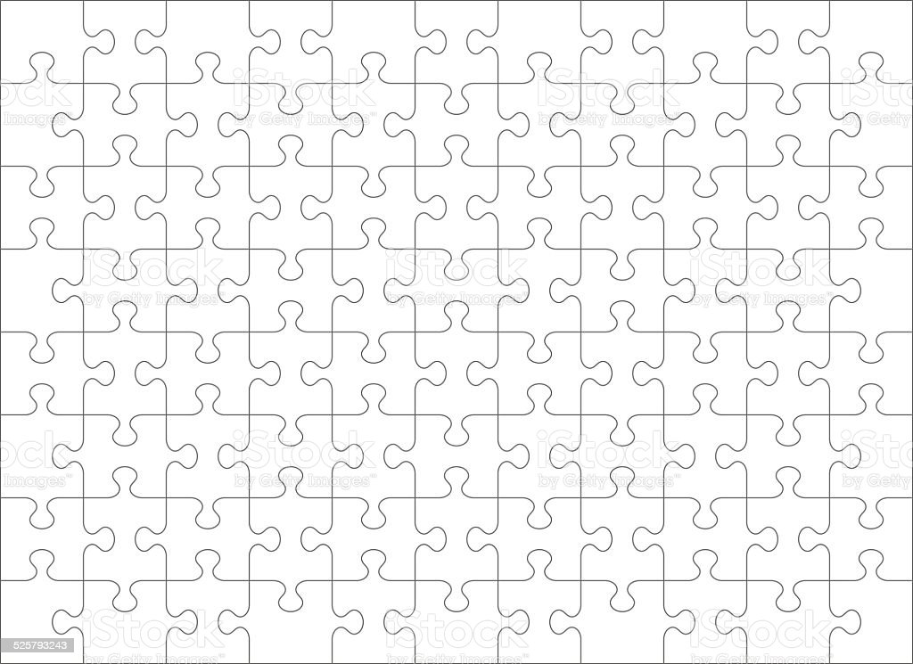 Jigsaw puzzle blank template of 88 pieces vector art illustration