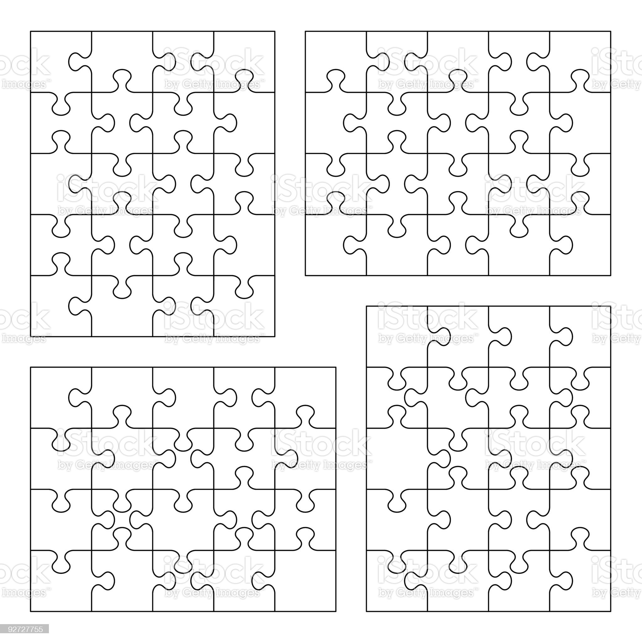 Jigsaw puzzle blank templates royalty-free stock vector art