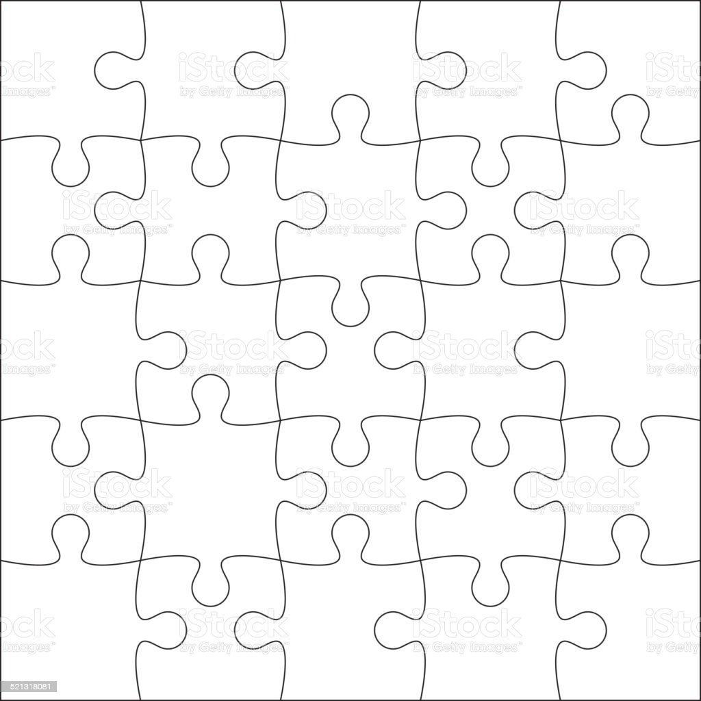 Jigsaw puzzle blank vector art illustration