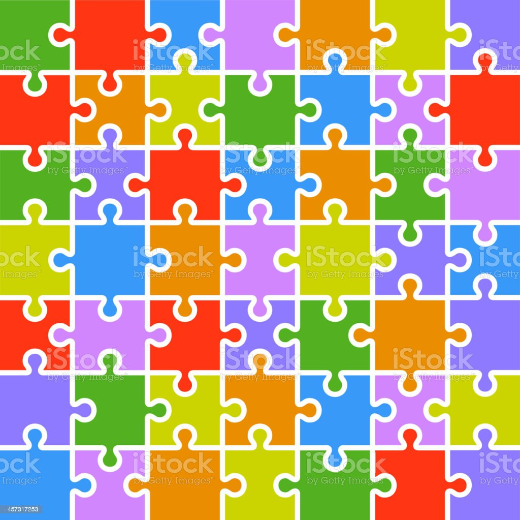 Jigsaw puzzle color parts template. 7x7 pieces. royalty-free stock vector art
