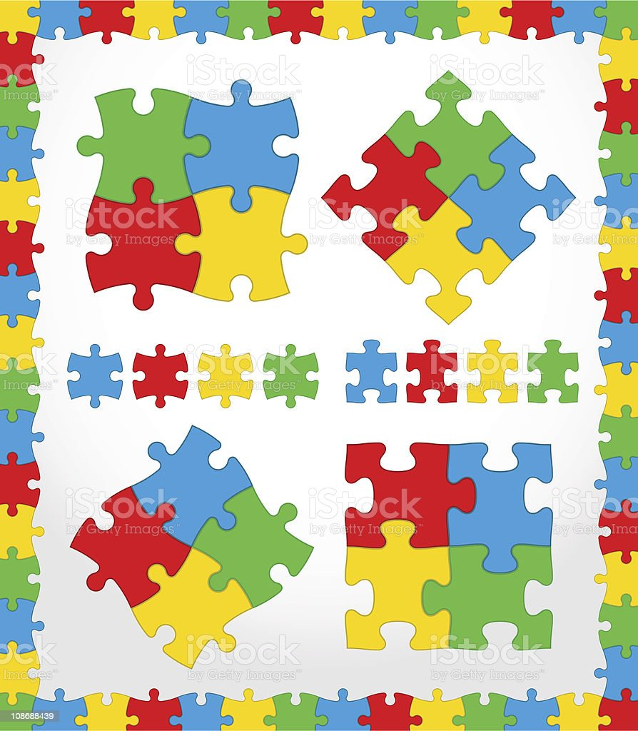 Jigsaw Puzzle Color set vector art illustration