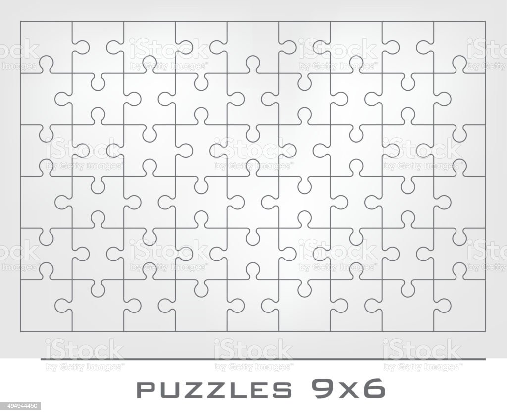 Jigsaw puzzle frame vector art illustration