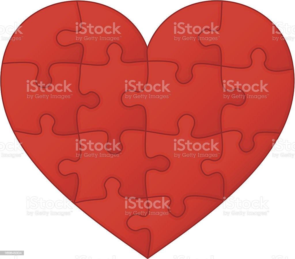 Jigsaw puzzle heart royalty-free stock vector art