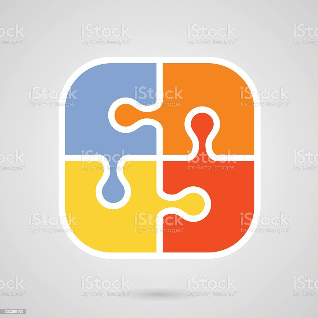Jigsaw puzzle icon - teamwork symbol vector art illustration