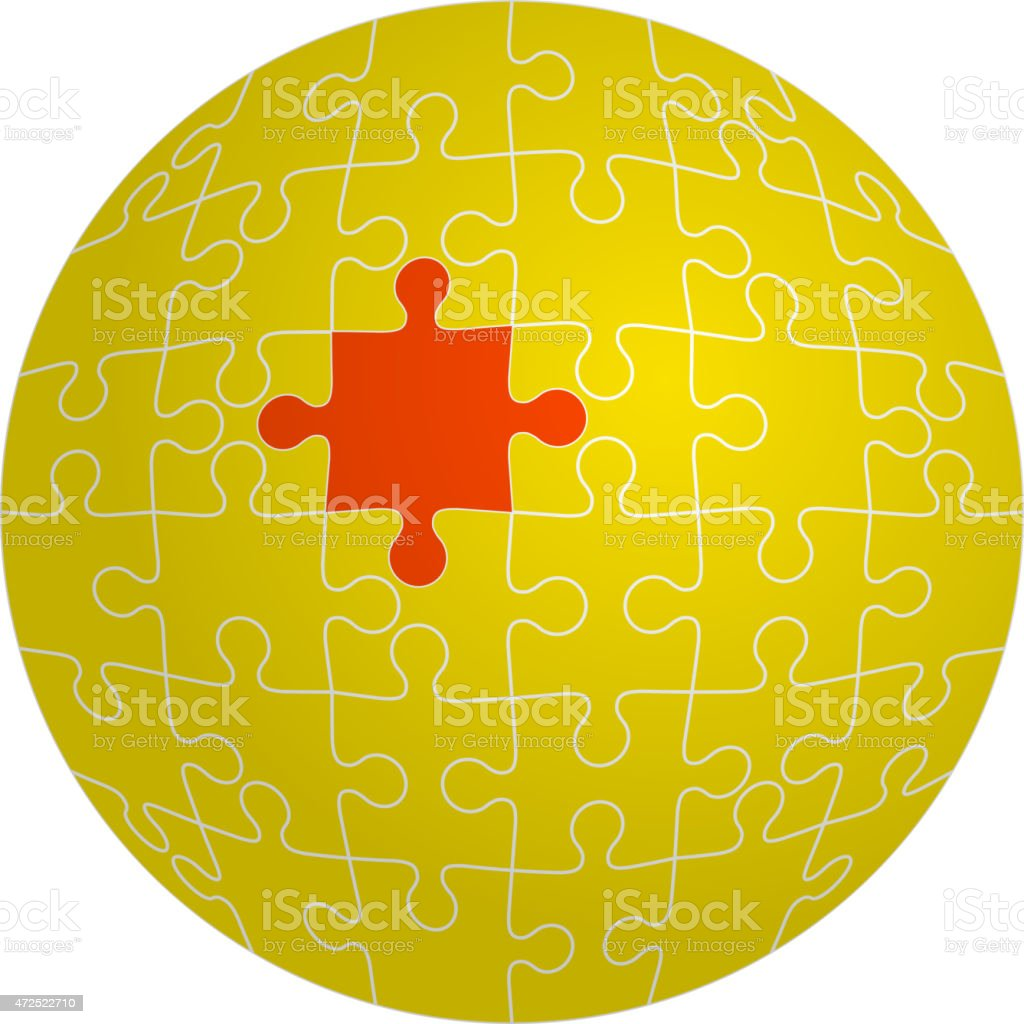 Jigsaw puzzle in the shape of a sphere with one vector art illustration
