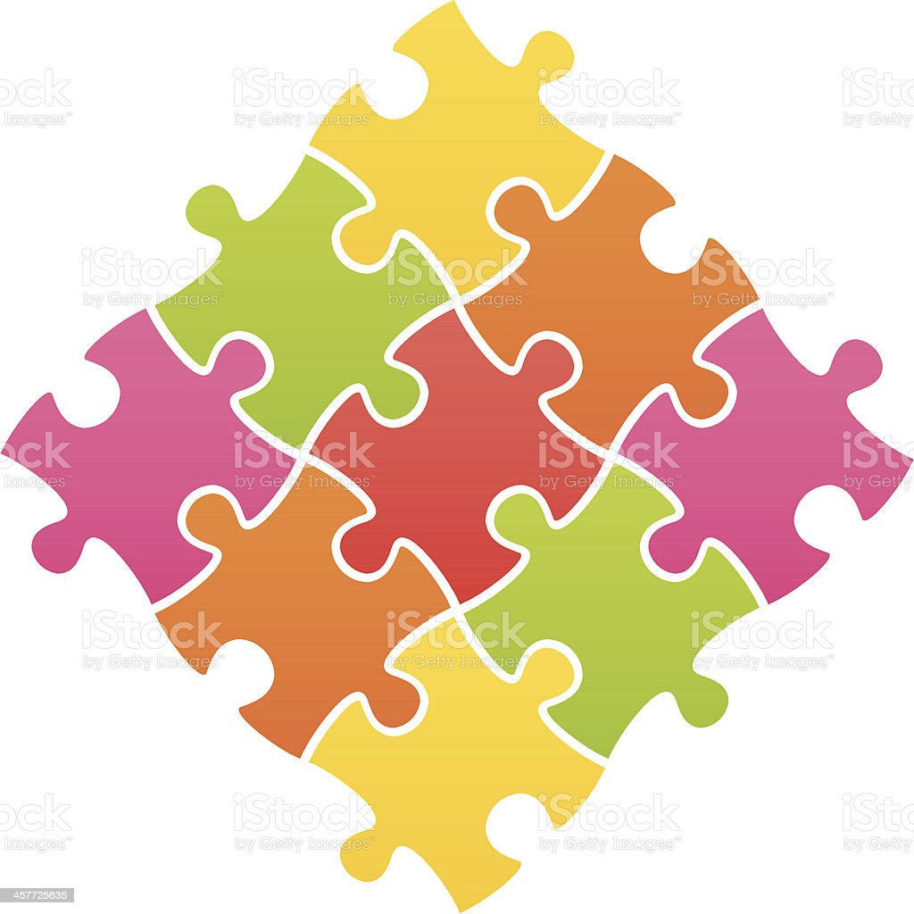 jigsaw puzzle multi colored vector art illustration
