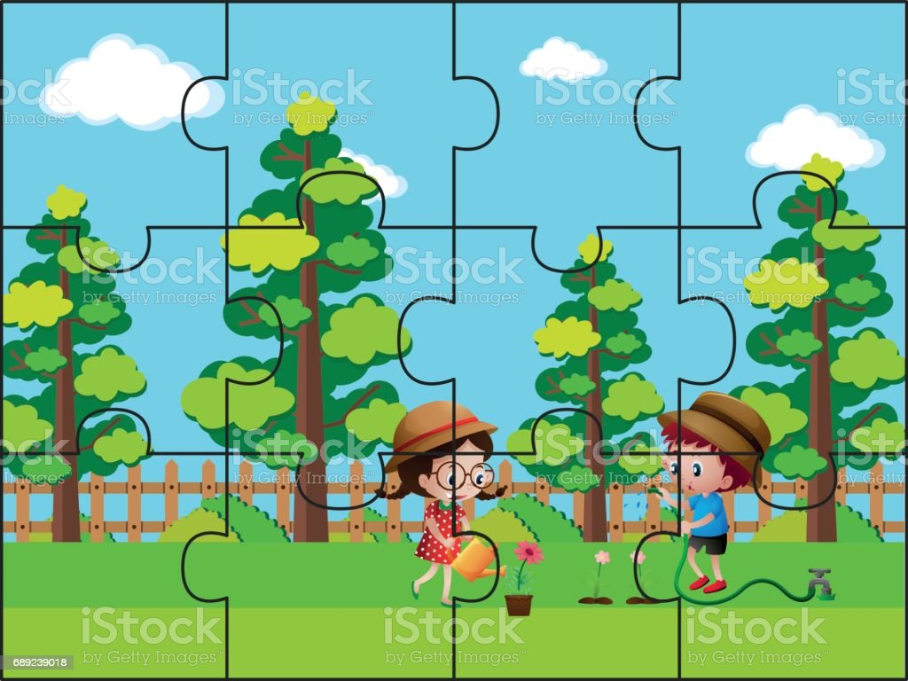 jigsaw puzzle pieces for kids in the park stock vector art