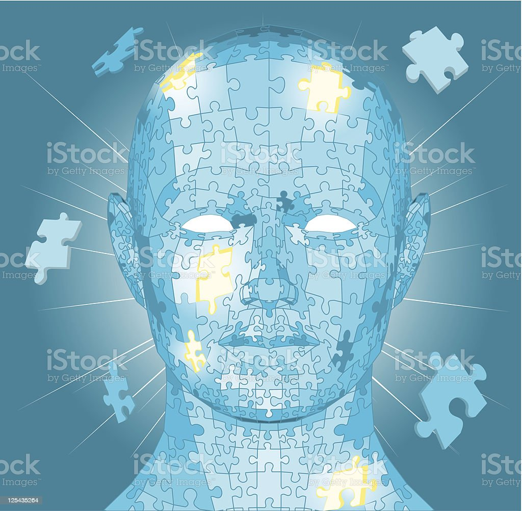 Jigsaw puzzle pieces head royalty-free stock vector art