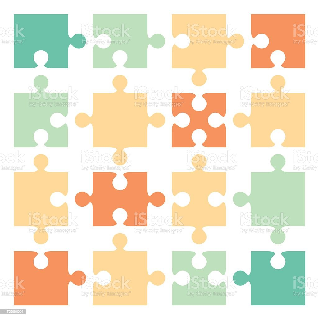 Jigsaw puzzle pieces - VECTOR vector art illustration