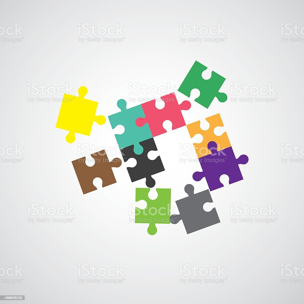 Jigsaw puzzle symbol vector art illustration