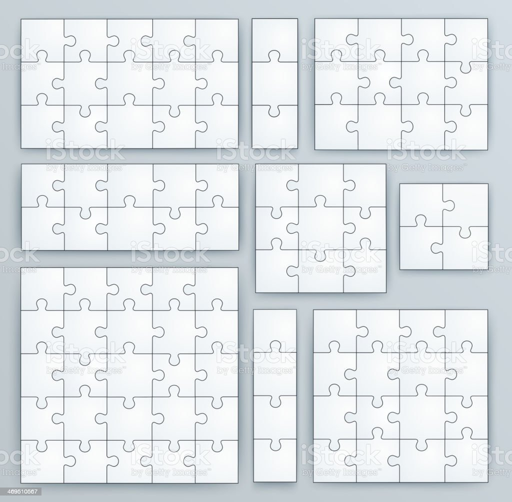 Jigsaw Puzzle Templates. Set of puzzle pieces vector art illustration