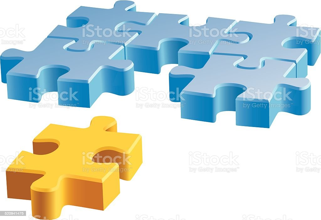 Jigsaw puzzle vector art illustration