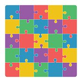 Jigsaw puzzle. Vector illustration.