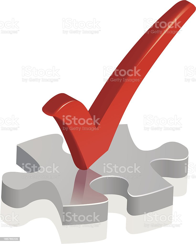 Jigsaw Puzzle with a check mark royalty-free stock vector art