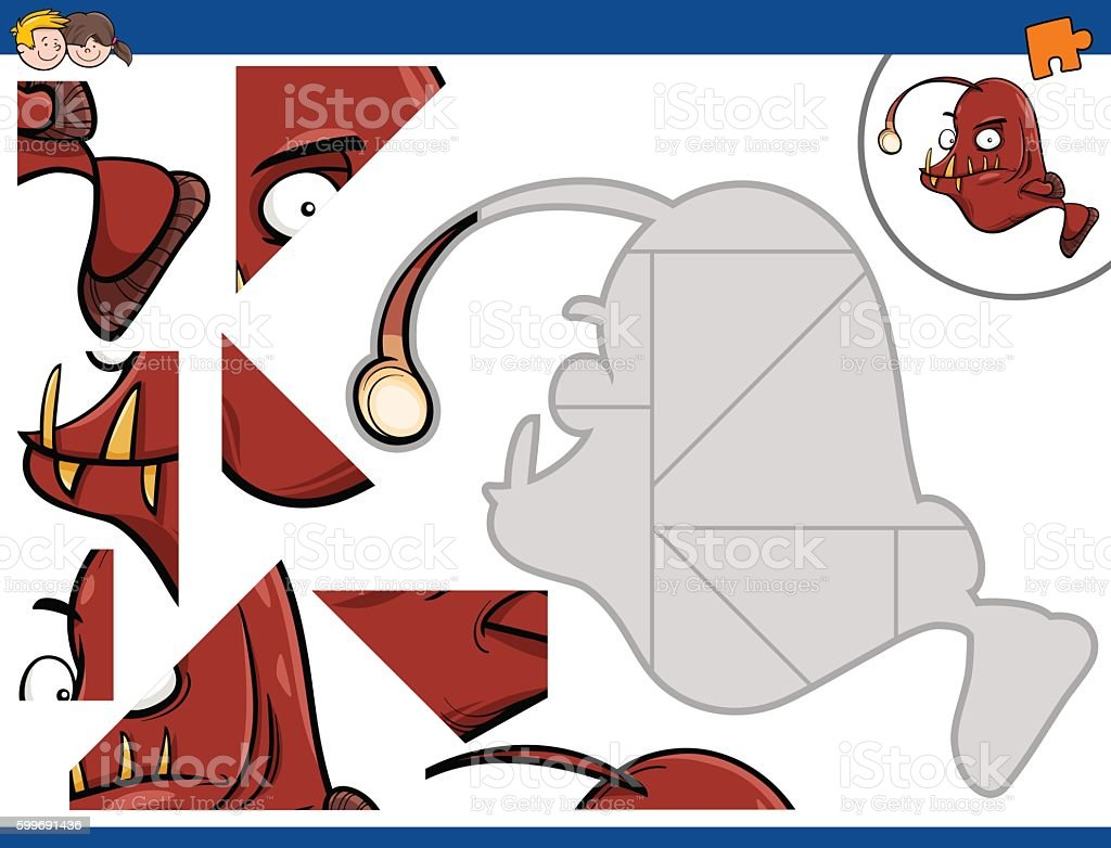 jigsaw puzzle with fish vector art illustration