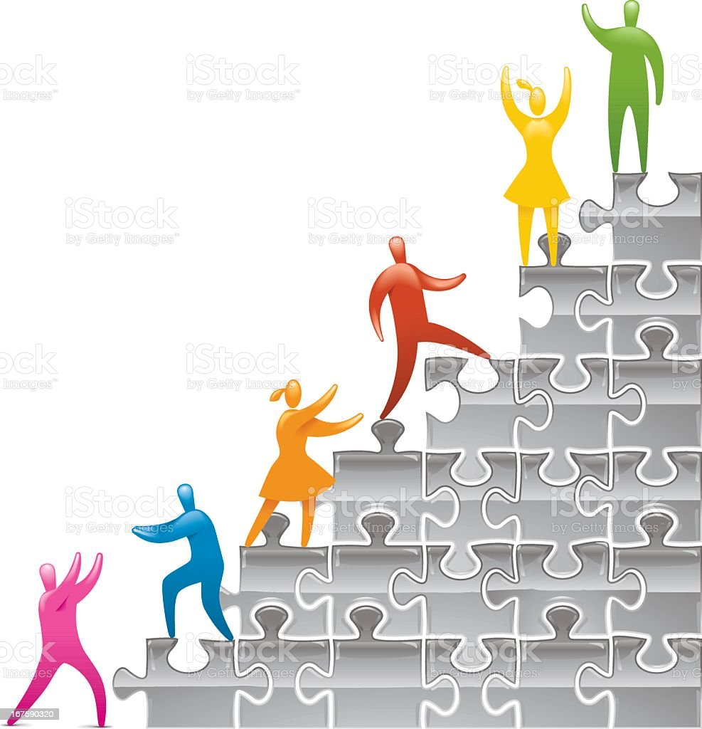 Jigsaw Steps to Success royalty-free stock vector art