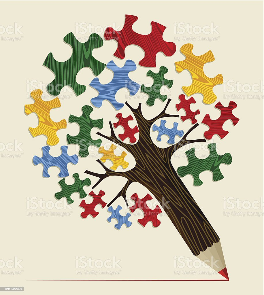 Jigsaw strategic concept tree royalty-free stock vector art