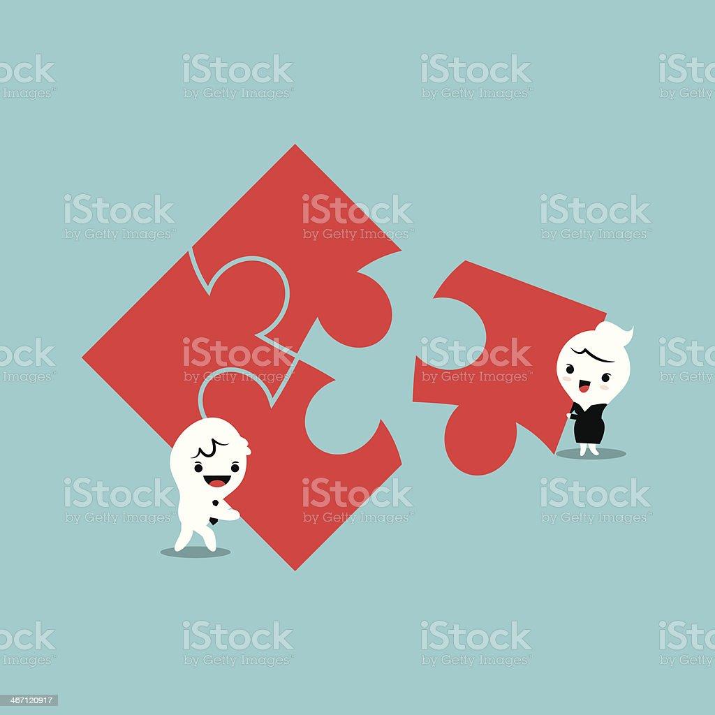 Jigsaw Teamwork royalty-free stock vector art