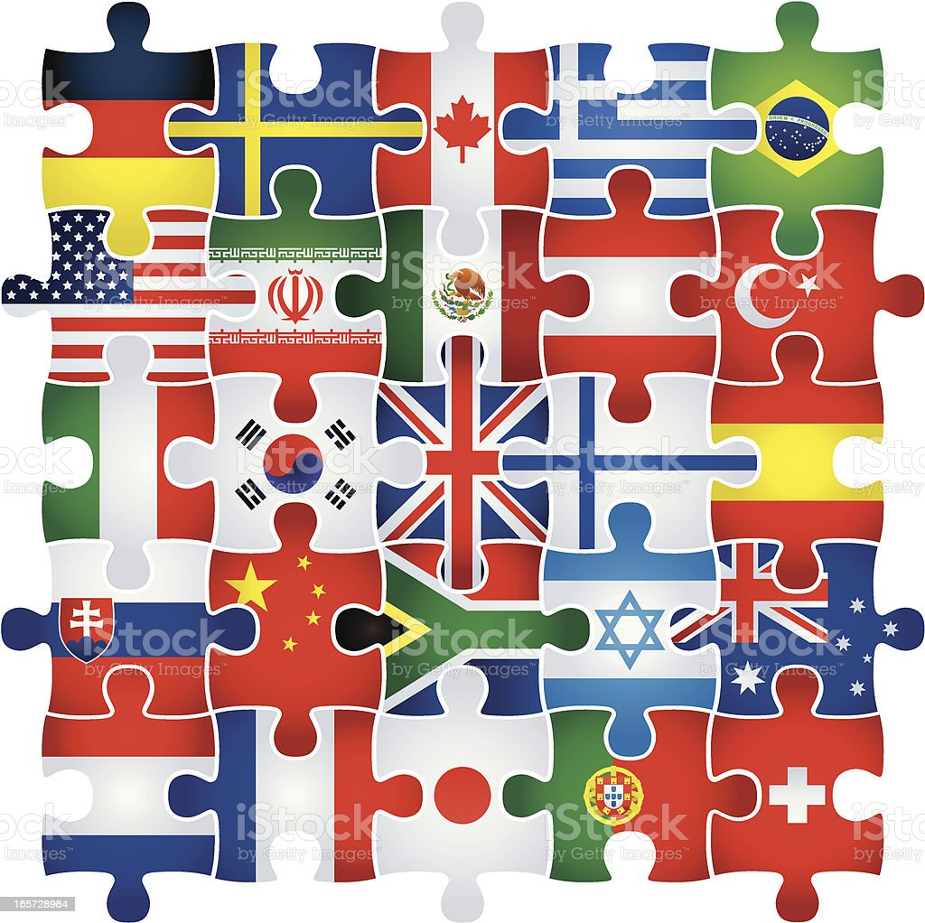 jigsaw with flags royalty-free stock vector art