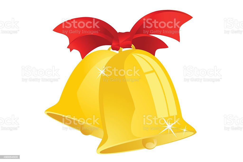Jingle bells with red ribbon isolated on background vector art illustration