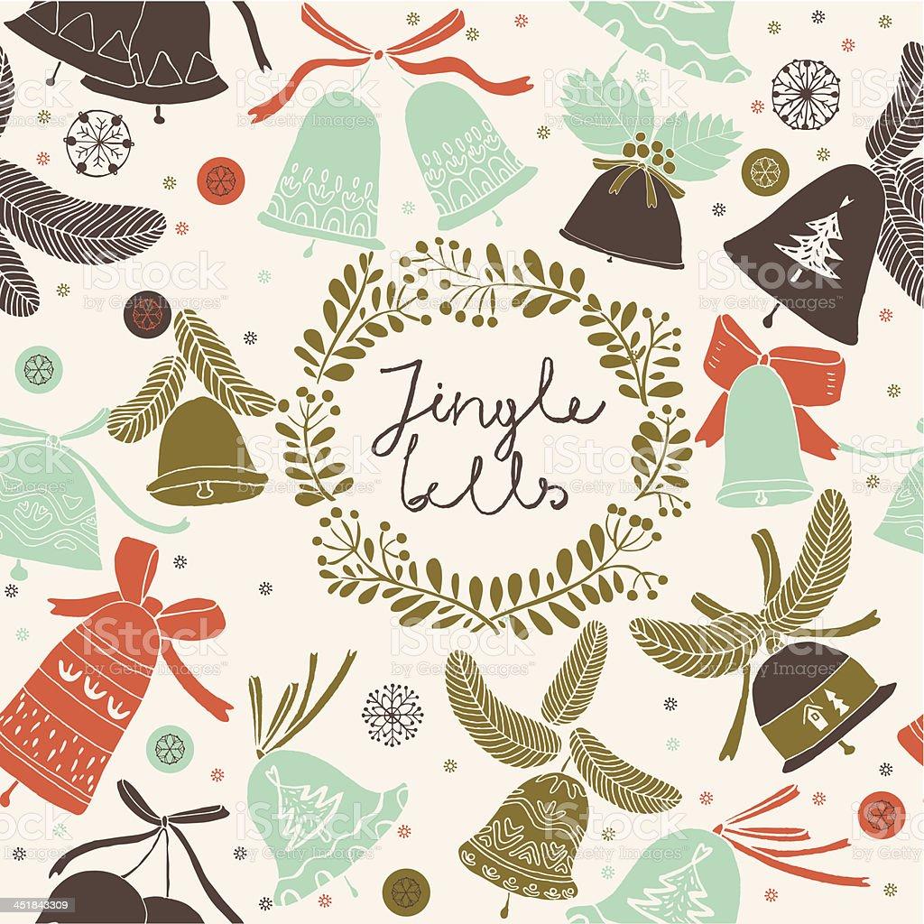 Jingles Bells Christmas pattern vector art illustration