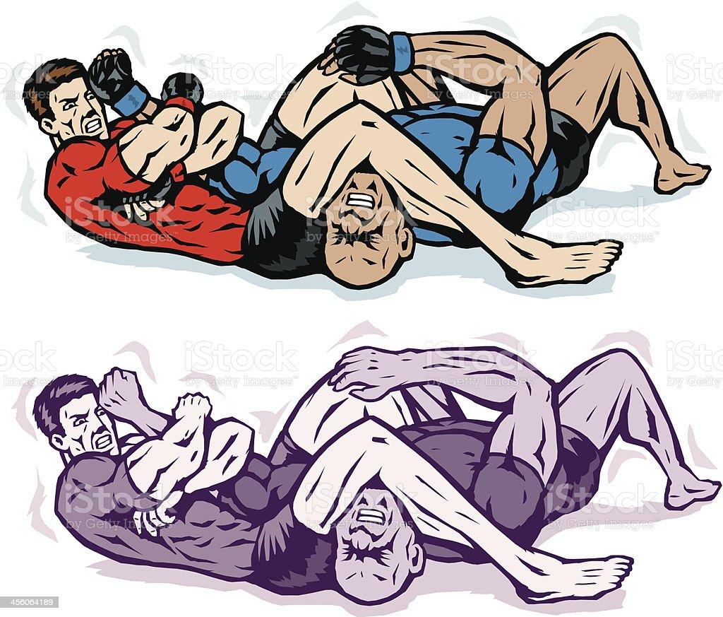 Jiu jitsu Arm bar with rash guards vector art illustration